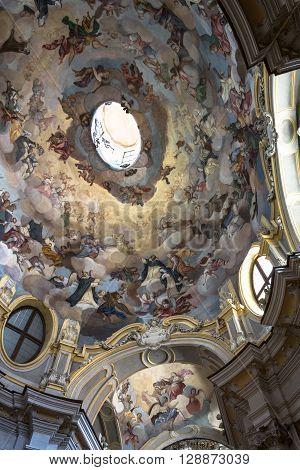 Alba,Piedmont,Italy,Europe - May 3, 2016 : The frescoed dome of Santa Maria Maddalena Church