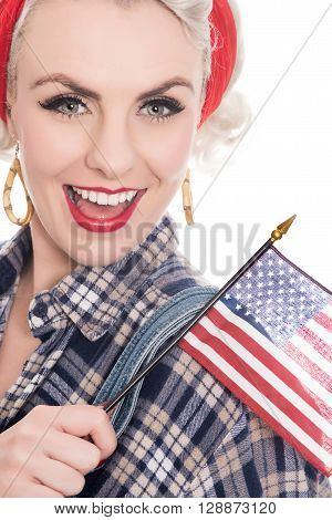 Tight Close Shot Of Excited Retro Woman Celebrating 4Th July With Flags, On White