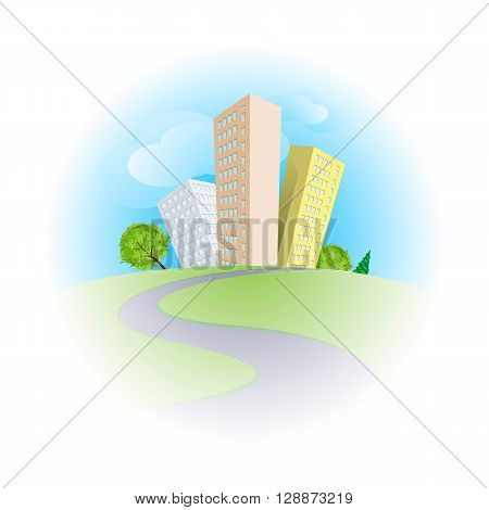 Cute cartoon skyscrapers among trees in sunny day