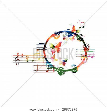 Colorful tambourine background with butterflies. Vector illustration