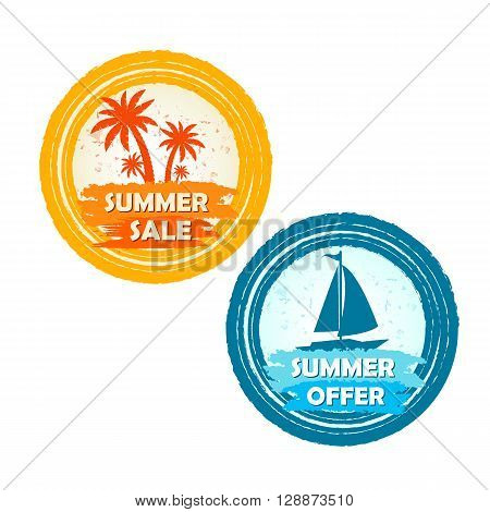 summer sale and offer banners with palms and boat signs - text in yellow orange and blue drawn circle labels with symbols business seasonal shopping concept