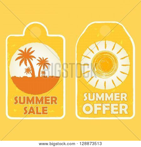 summer sale and offer labels with palms and sun signs - text in yellow drawn banners with symbols business seasonal shopping concept