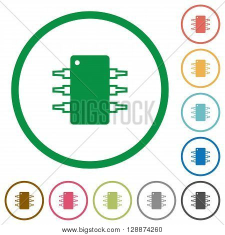 Set of Integrated circuit color round outlined flat icons on white background