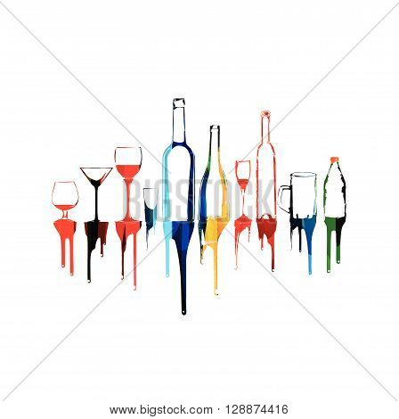 Vector illustration of colorful background with bottles and glasses