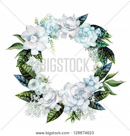 Watercolor gardenia and gypsophila wreath. Floral wedding design isolated on white background