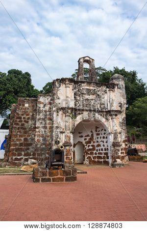 A Famosa The Portuguese fortress located in Melaka Malaysia.