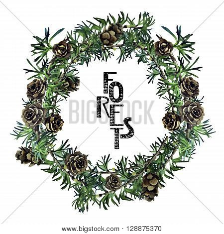 Watercolor forest wreath. Larch cones frame. Vector design isolated on white background