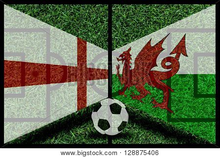England Vs Wales Football Flag Background On Green Pitch 2016