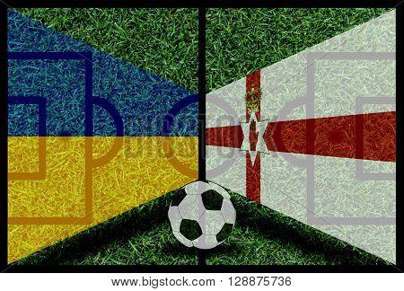 Ukraine vs Northen Ireland football flag background on green pitch 2016