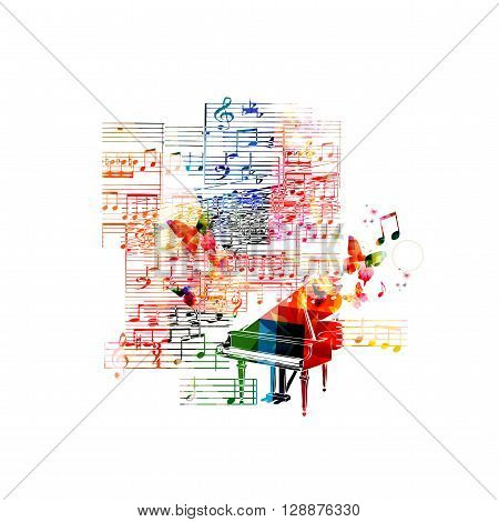 Vector illustration of colorful piano with butterflies