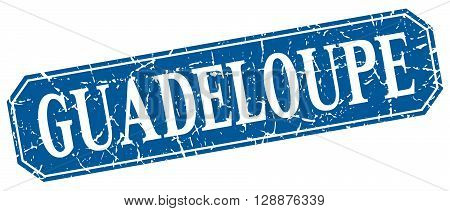 Guadeloupe blue square grunge retro style sign