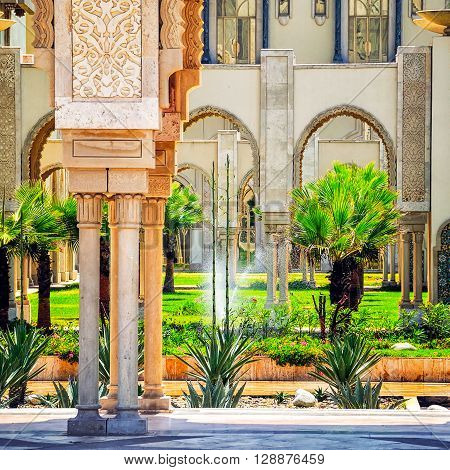 Garden in the Casablanca King Hassan II Mosque, Morocco