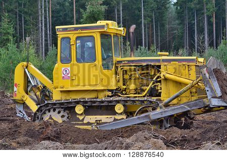 bulldozer at work in the woods south Bohemia Czech Republic