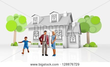 miniature people  - a young family posing in front of their new house