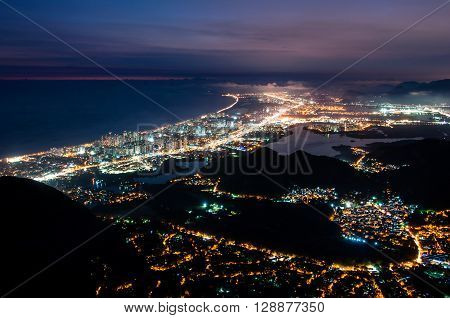 Night View of Barra da Tijuca District in Rio de Janeiro, Brazil