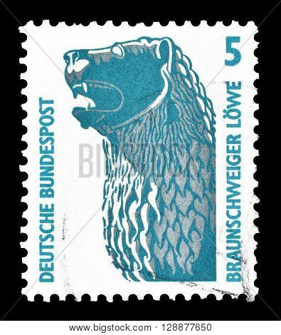 GERMANY - CIRCA 1990 : Cancelled postage stamp printed by Germany, that shows Lion statue in Brunswick.
