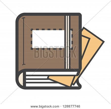 Closed dairy Notebook Icon or logo, vector.