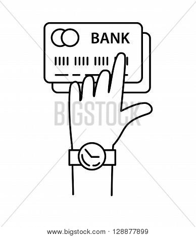 Hand with credit cards line icon vector, internet banking.