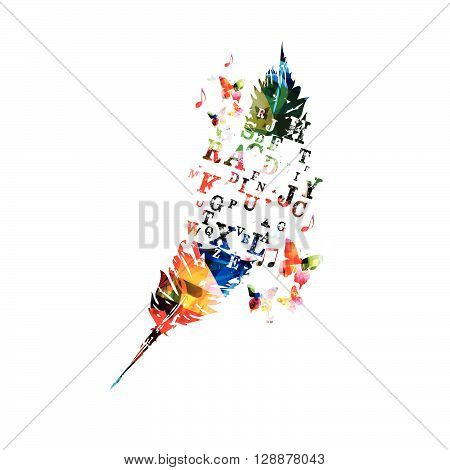 Vector illustration of colorful feather with butterflies. Creative writing concept