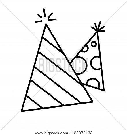 Icons cap for birthday celebrations vector illustration.