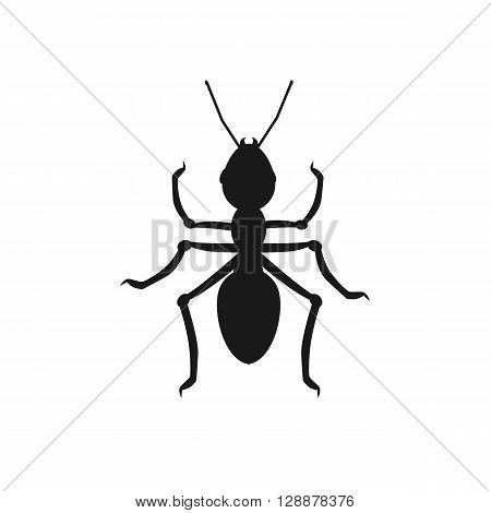 Ant icon black. Ant isolated on white background. Vector illustration