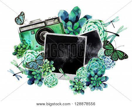 Vintage watercolor design with succulents, polaroid photo, green camera, butterflies and dragonflies. Summer mood