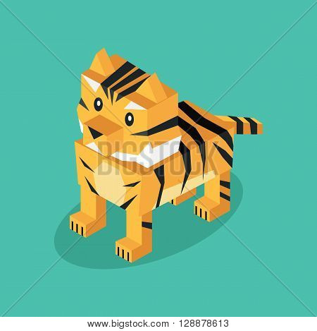 Isometric 3d tiger animal isolated. Beasts of prey isolated on a background. Wildlife and dangerous animal with fur and tail cover striped pattern in  isometric 3d style. Vector illustration