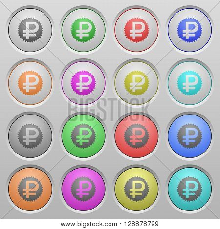 Set of Ruble sticker plastic sunk spherical buttons.