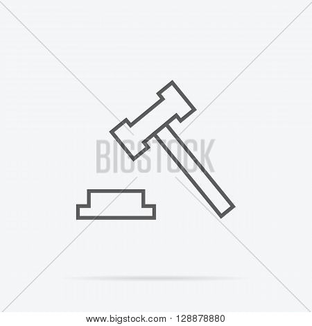 Judge or auction hammer icon. Vector illustration
