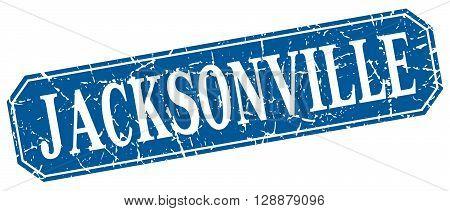 Jacksonville blue square grunge retro style sign