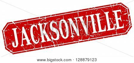 Jacksonville red square grunge retro style sign