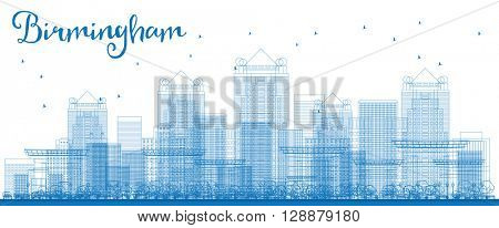Outline Birmingham (Alabama) Skyline with Blue Buildings. Business and tourism concept with skyscrapers. Image for presentation, banner, placard or web site