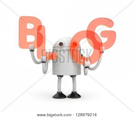 Robot with word BLOG. 3d illustration
