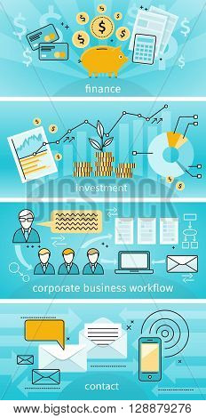 Business concept finance investment flat design. Banner set corporate business workflow and contact. Statistic data and increase cash investments graphics and the workflow diagram. Vector illustration