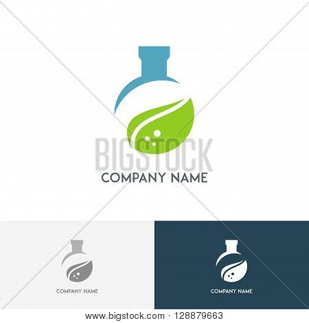 Ecology lab logo - colored test tube with fresh green leaf on the white background