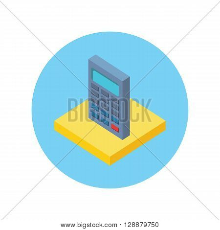 Isometric modern app icon of calculator business concept on white background. 3d calculator concept icon accounting and calculation. Office and business work vector elements