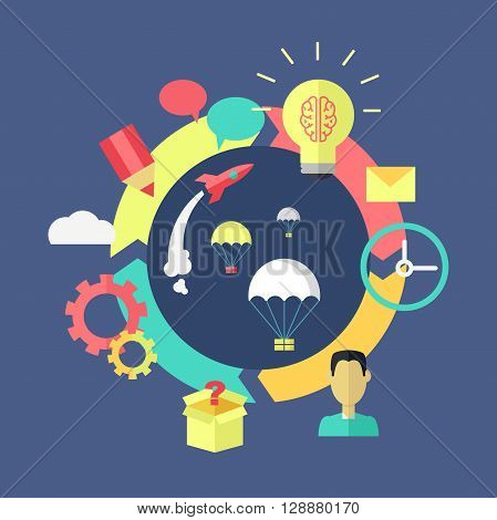 Generation of ideas banner design. Process of creation and implementation of ideas projects or startup. Brainstorming discussion and launch of projects on color flat style. Vector illustration