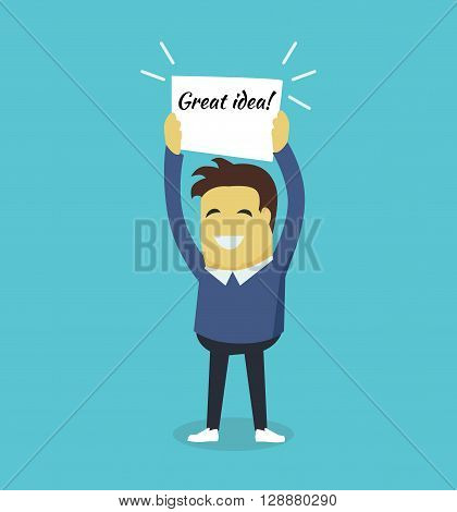 Man with a banner great idea. Successful business team man smiling and holding a white sheet of paper with the inscription great idea isolated on background. Vector illustration