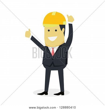 Businesman show gesture thumb up. Young successful investor man in helmet do business hand gesture shows good job isolated on white background. Approval of praise and agreement. Vector illustration