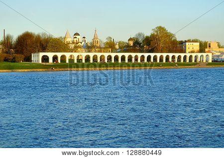 Yaroslav's Courtyard at spring sunset near the Volkhov river in Veliky Novgorod Russia. Spring architecture landscape.