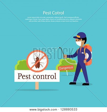 Pest control banner design flat. Service Employee pest control man in uniform with balloons and sprays. Banner for web page or website. Sign of a red circle with an insect. Vector illustration