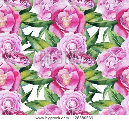 Watercolor camellia seamless pattern. Floral design elements isolated on white background