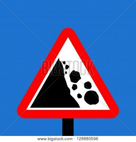 Warning triangle Falling or fallen rocks sign