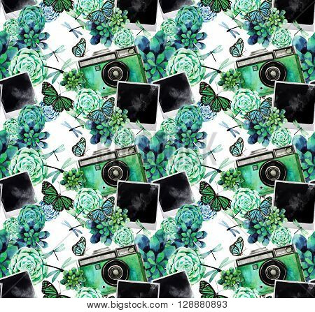 Vintage watercolor design with succulents, polaroid photo, green camera, butterflies and dragonflies. Vector pattern