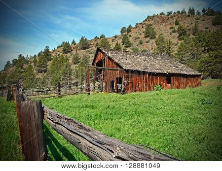 Old Barn on pine creek ranch in Oregon ** Note: Soft Focus at 100%, best at smaller sizes