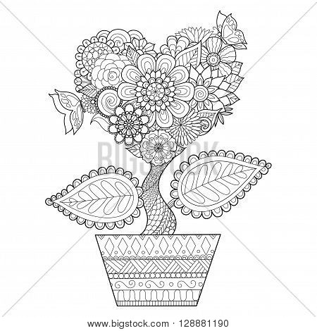 Flowers in heart shape on a pot line art design for coloring book for adult, tattoo, T- Shirt graphic, cards and so on