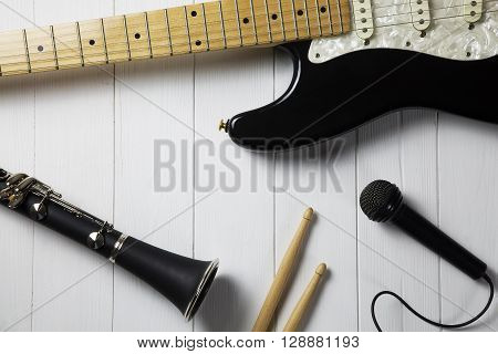 portrait of instruments for a blues - jazz band
