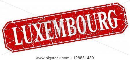 Luxembourg red square grunge retro style sign