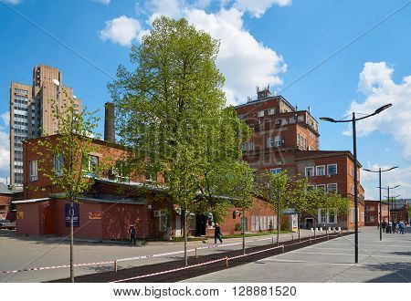 Moscow Russia - May 06 2016: View on old red brick buildings of former Arma factory. Nizhniy Susalniy pereulok (lane) in Moscow.