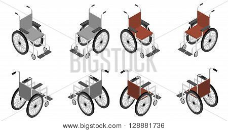 Wheelchair detailed isometric icon vector graphic illustration. Big set different colors, 3d render